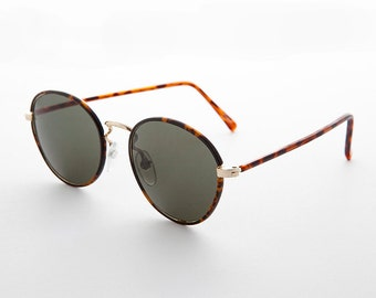 Preppy Polo Style Round Sunglasses with Windsor Tube Temples - Woody