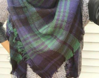 Plaid Blanket Scarf, Blanket Scarf, Tartan Plaid Scarf, Tartan Scarf, Oversized Scarf, Oversized Blanket Scarf, Monogrammed Blanket Scarf