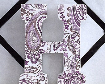 "Purple Paisley  5"" Letter H, Shelf Art, Shelf Letter, Nursery Art, Baby Letter, Nursery Letter, Decorated Letter, Initial, Wood Letter"