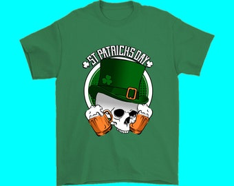 GOLINIT St. Patricks Day Beer Mugs Skull Shamrock T-Shirt