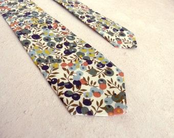 Liberty Print Tie - Green Floral Tie - Narrow Tie- Blue Wedding Tie - Wiltshire Print - Winter Wedding Tie - Blue Floral Tie - Groomsmen Tie