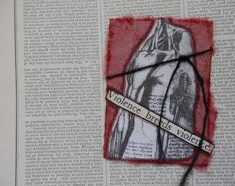 "ACEO ATC one-of-a-kind Original ""Violence Breeds Violence"" Artist Trading Card"