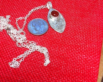 20, Carnelian Pendant Necklace, Stocking Stuffer, Sterling Silver Pendant, Gift for Her