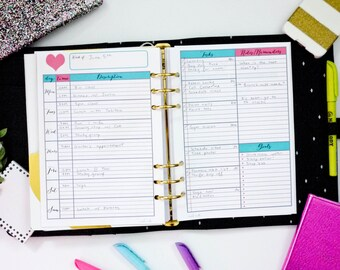 TEAL and PINK A5 Undated Filofax / Kikki K Large Planner - 2 Pages Printable Weekly WO2P Planner Insert PDF