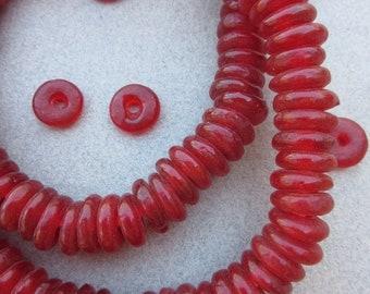 Red Ghana Glass Disk Beads (12x4mm) [68337]