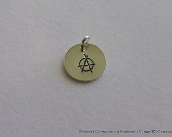 Hand Stamped Anarchy symbol Charm or Necklace (#1604)