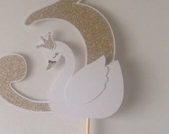 Swan Cake Topper /  Number/Age Birthday Cake Topper