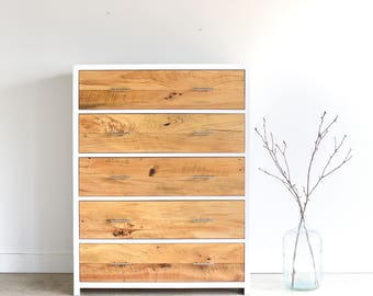 Scandinavian Dresser / White + Reclaimed Wood 5-Drawer Dresser