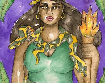 Voodoo Saint Martha the Dominator Art Print Catholic Hoodoo Saint Fantasy Art St Martha Pagan Art Spiritual Magick Witch Santeria Goddess