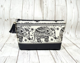 Boho cosmetic bag, Bohemian makeup bag, Bohemian Elephant gift, Leather makeup bag, Vegan Makeup holder, Cosmetics fabric pouch elephant