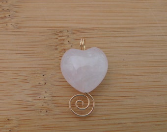 Light Pink White Puff Heart Rose Quartz Heart Bead Wire Wrapped in 14K Gold Filled Wire Wrapped Handmade Jewelry Valentines Love Gemstone