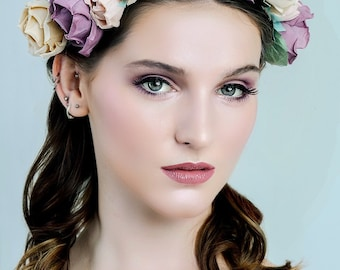 Bridal floral crown LILIAN , pastel, tear drop crystals, hand sculpted pure silk flowers,