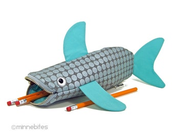 Best Seller Shark Pencil Case - Turquoise Zipper Bag - Silver Desk Accessory - Planner Pouch - Nautical Purse - School Bag - Ready to Ship