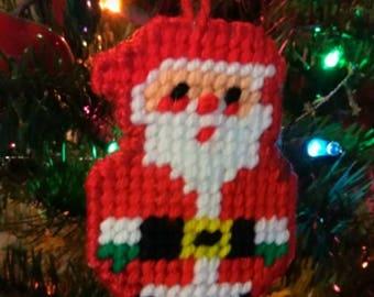 Set of 2 Santa ornaments, Santa yarn ornaments,  Santa knit ornaments