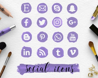 FOLLOW ME, Social Media Icons & Brush Stroke, Handpainted Violet Spots, Makeup Round Social Icons, Transparent PNG Files, BUY5FOR8