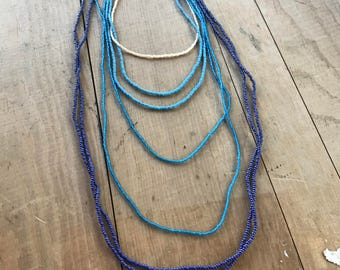 Handmade Layered Ombre Blue Seed Bead Necklace