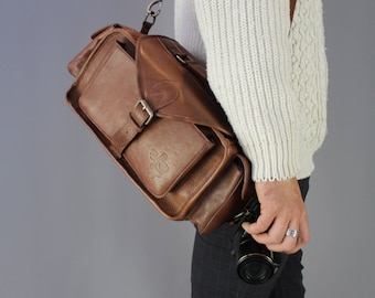 PRE ORDER ONLY The Vagabond Camera Bag: Vintage style brown leather camera bag unisex mens