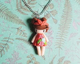 """Necklace little girl """"hairs, coral dress, pink/blue flowers"""" (spring 2018 collection)"""