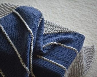 Cotton Knit Baby Blanket Navy Gray