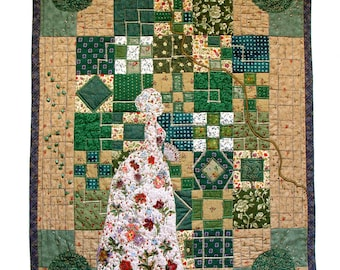 Victorian lady in the garden, contemporary textile art