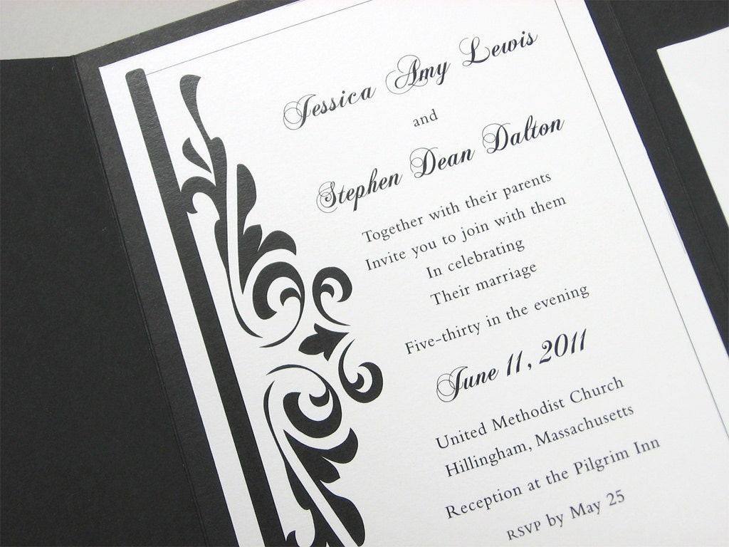 Traditional Elegant Wedding Invitations: Custom Pocketfold Wedding Invitation Traditional Elegant Black