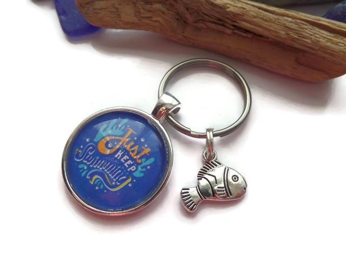 "FINDING NEMO Dory inspired "" just keep swimming "" 25mm 1"" glass dome charm keyring fan gift jewellery UK"