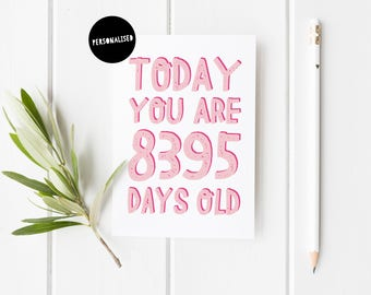 Personalised Birthday Card, Milestone Birthday Card, Fun Birthday Card For Her, Birthday Card, Today You Are Days Old, 50th Birthday Card