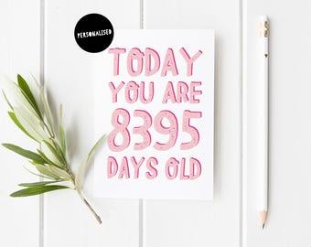 Personalised Birthday Card, Milestone Birthday Card, Fun Birthday Card For Her, Birthday Card, Today You Are Days Old, 50th Birthday Card