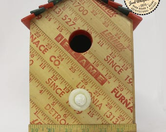 Vintage Yardstick Reclaimed Wood Reuse Repurposed Red and Green Birdhouse Made by Hand by Junkwhisperer.com