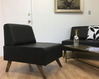 Bokz Lounge chair leather Mid Century Modern Furniture by Jonathan Sebastian