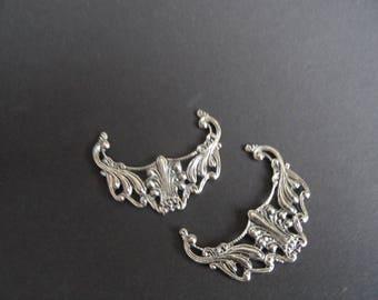 pendants or connectors (2) antique silver, superb quality