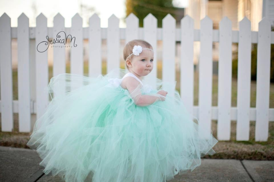 Pixie tutu dress Mint Green with white satin bow Featured in