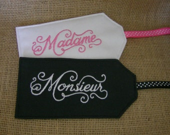 Luggage Tags, Madame and Monsieur Embroidered Luggage Tags, Embroidered Tags