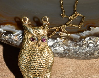 Vintage Brass Owl Pendant Peched Owl with Rhinestone Eyes Necklace