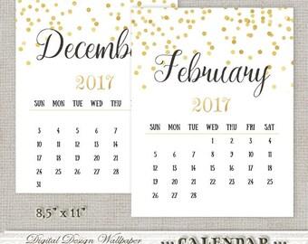 Printable Calendar 2017,Gold Confetti Calendar,Calendar Printable,Monthly Calendar,Office Calendar,Instant Download,Digital Calendar 2017
