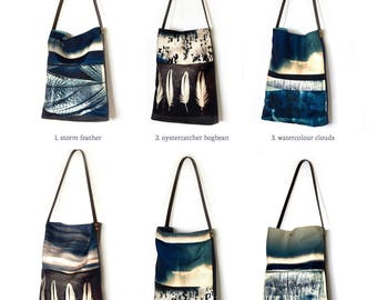 Tote bag, shoulder bag shopper, hobo, market bag, clouds, storm landscape, feather, blue stripe