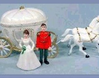 Cinderella Prince Charming Horses & Coach Cake Topper Table Decoration Centerpiece Decor