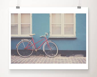 red bicycle photograph copenhagen photograph travel photography blue home decor denmark photograph red bike photograph red bicycle print