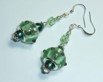 """bijou boucle oreille argenté """"e.t. vert d'eau"""""""