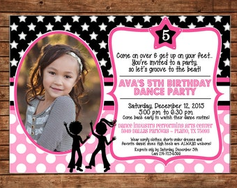 Girl Photo Invitation Dance DJ Hip Hop Birthday Party - Can personalize colors /wording - Printable File or Printed Cards