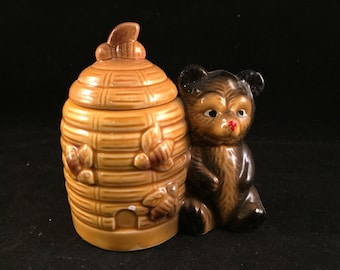 Vintage Made in Japan Honey Jar with Bear and Bee Hive