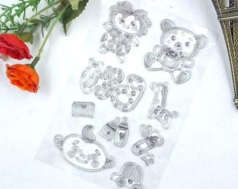Baby teddy rattle  silicone rubber stamp stamps  scrap booking card making crafts