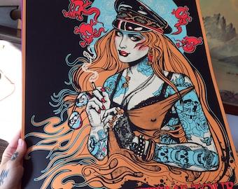 """Guns N Roses """"Rocket Queen"""" limited artist edition silkscreen poster"""