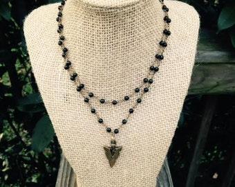 Black Rosary Double Wrap + Arrow
