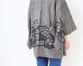 black shibori kimono, Haori, tie dye kimono, floral kimono, gift for her /3499