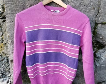Vintage Striped 1980s Cropped Fit Sweater by Goodies and co