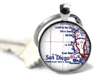 San Diego Map Keychain, California Custom keychain, Boyfriend Keychain, Dad Keychain, Gifts for Men, Fathers Gifts, Military keychain