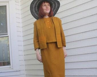 60s Skirt Suit Knit Blouse Set Sleeveless Top Jacket 9 S Vintage Vicky Vaughn 1960s