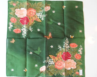 Green Japanese Cotton Cloth With Colorful Flower Pattern Scarf Handkerchief Table Runner Table Cloth