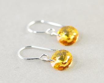 Crystal Disc Earrings, Crystal Earrings, Swarovski Earrings, Yellow